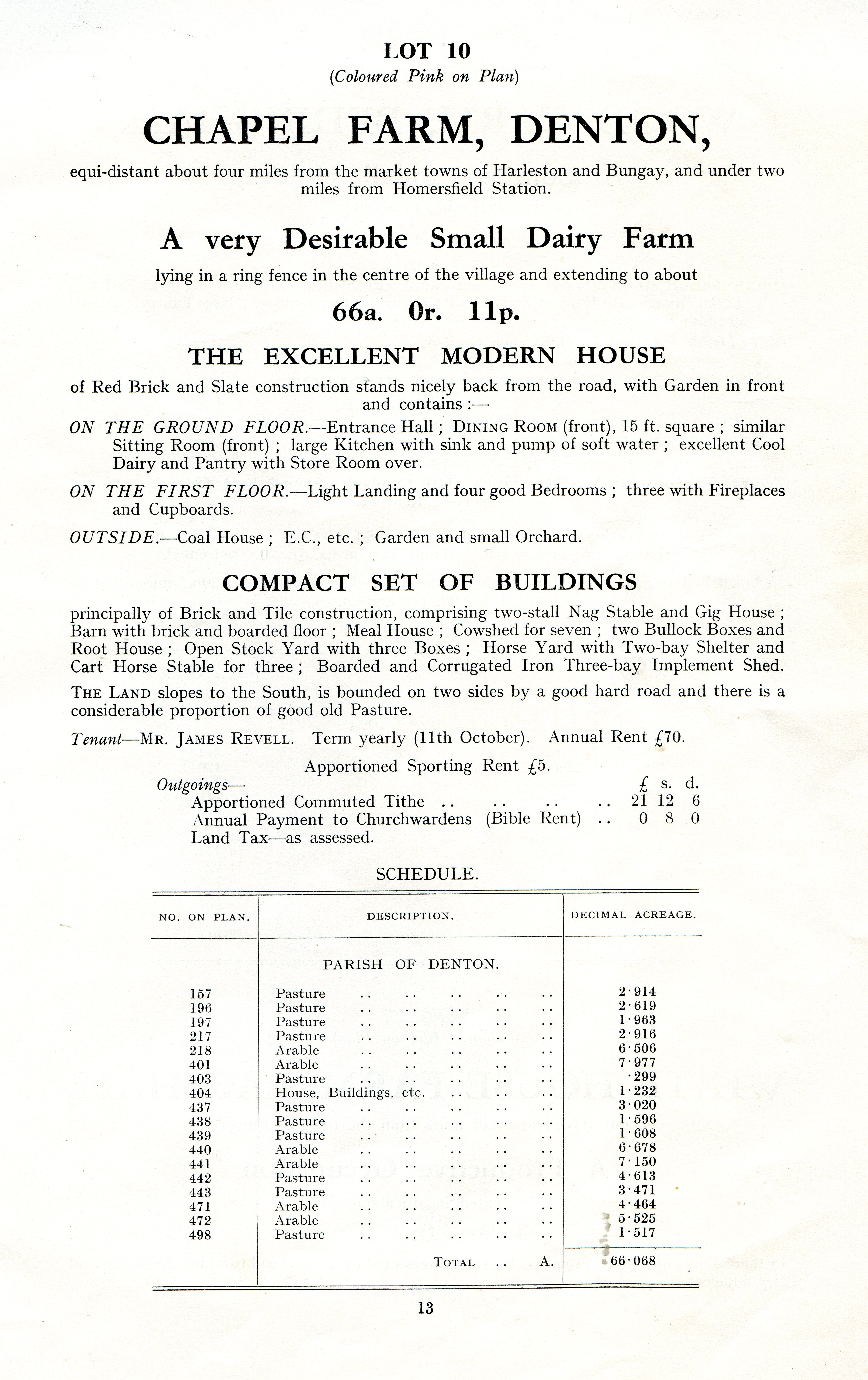 Chapel Farm sale details 1928